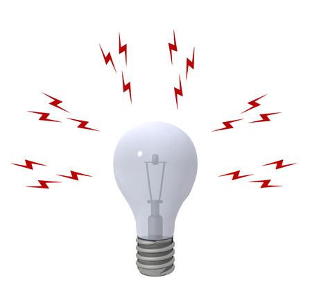 electrics: Light bulb and lightning bolts isolated on white background