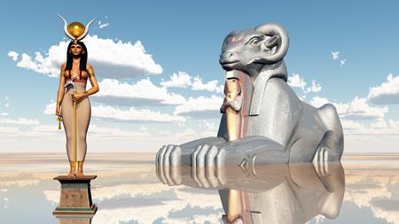 sphinx: Sphinx and the goddess Hathor Stock Photo