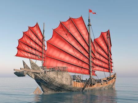 中国のジャンク船 写真素材