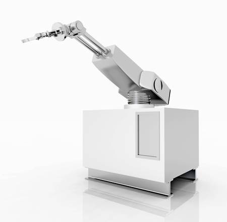 robot: Robotic arm against a white background