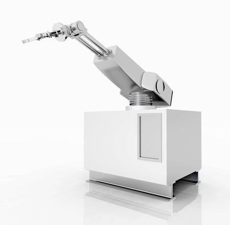 robot arm: Robotic arm against a white background