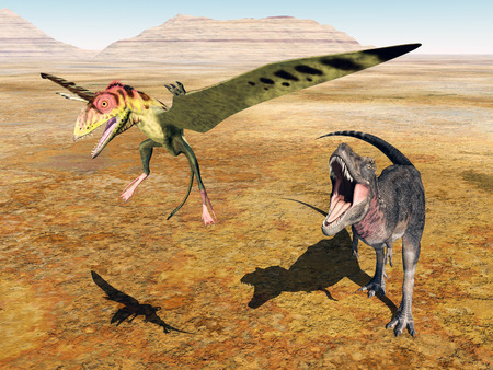 pterosaur: The dinosaur Tarbosaurus attacks the pterosaur Peteinosaurus