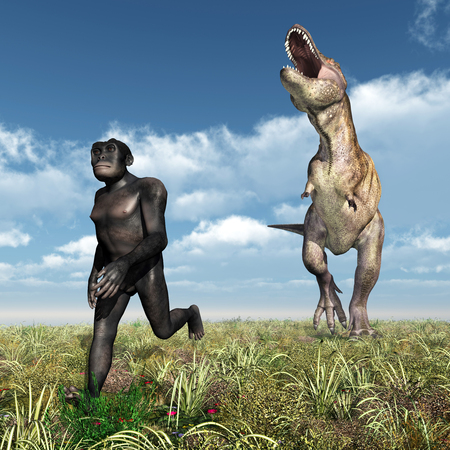 habilis: Tyrannosaurus Rex attacks Homo Habilis Stock Photo