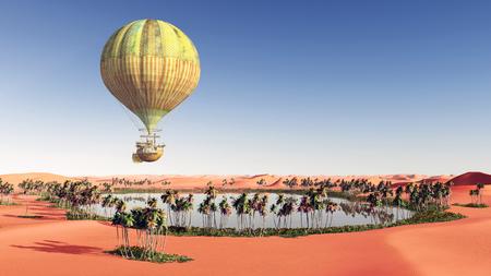 desert oasis: Fantasy hot air balloon over a desert oasis