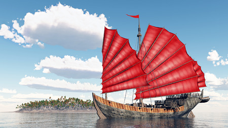 Chinese junk ship Stock Photo - 50242209
