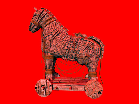 unsafe: Warning symbol for the computer virus Trojan horse against a red background