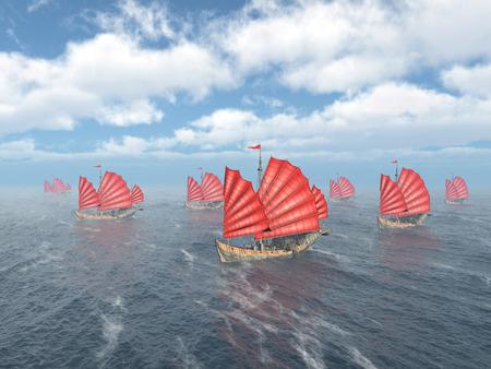 far east: Fleet of Chinese junk ships