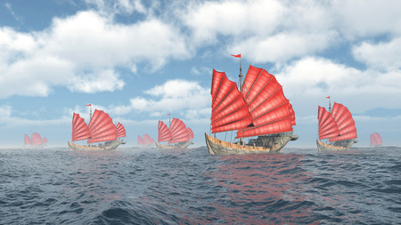 Fleet of Chinese junk ships Stock Photo - 50926464