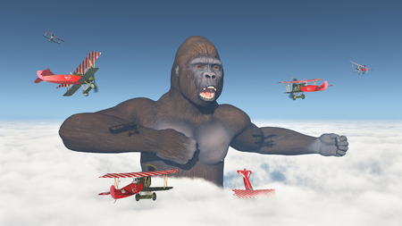 angry sky: Biplanes attack a giant gorilla