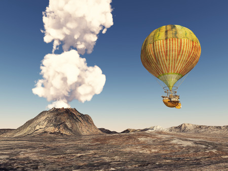 volcanic landscape: Fantasy hot air balloon over a volcanic landscape