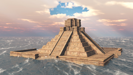 3d temple: Mayan temple in the ocean