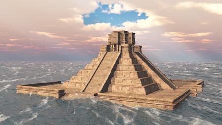 cultura maya: templo maya en el océano