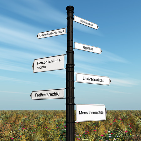 egalitarianism: Computer generated 3D illustration with the german words for human rights, universality, egalitarianism, indivisibility, legal rights, natural rights and inalienability on a signpost Stock Photo