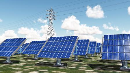 solar power: Solar power plant and overhead power line