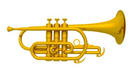 aerophone: Trumpet isolated on white background