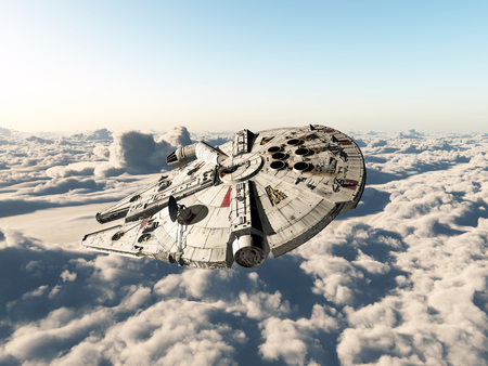 above clouds: Spaceship above the clouds