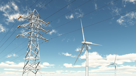 electricity prices: Wind turbines and overhead power line