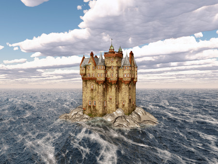 fortification: Scottish castle in the sea Stock Photo