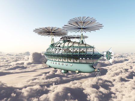 above clouds: Fantasy airship above the clouds Stock Photo
