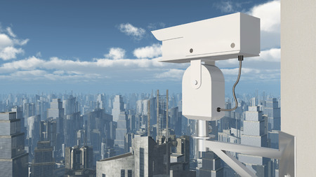 video surveillance: Surveillance camera over a city