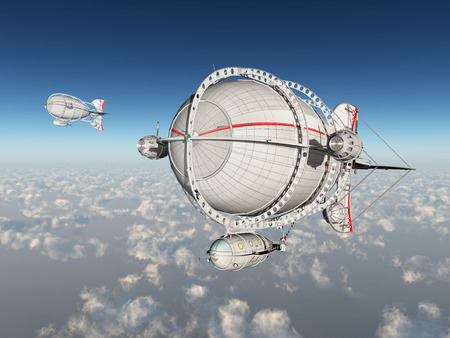 above clouds: Fantasy airships above the clouds Stock Photo