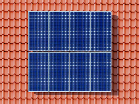 solar panel roof: Solar panel on a roof