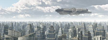 raumschiff: Raumschiff über einer Stadt