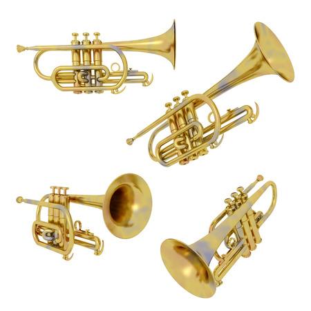aerophone: Trumpets isolated on white background