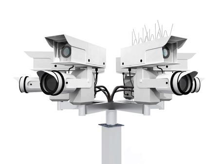 spying: Surveillance camera isolated on white background Stock Photo