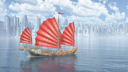 china town: Chinese junk ship and city by the sea