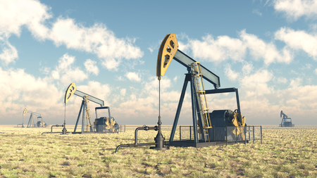 oil well: Oil pumps