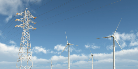 power pole: Wind turbines and overhead power line