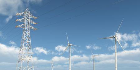 overhead: Wind turbines and overhead power line