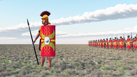 ancient roman: Roman centurion and legionaries