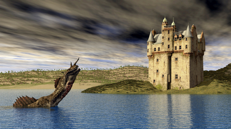 mysticism: Loch Ness Monster and Scottish Castle