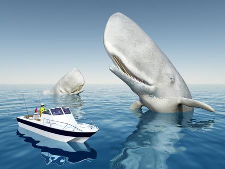 deep sea fishing: Sea angler and sperm whales