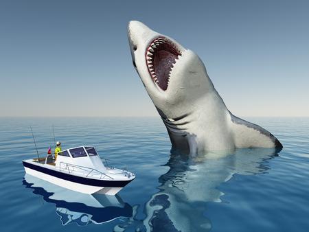 deep sea fishing: Sea Angler and the Megalodon Shark