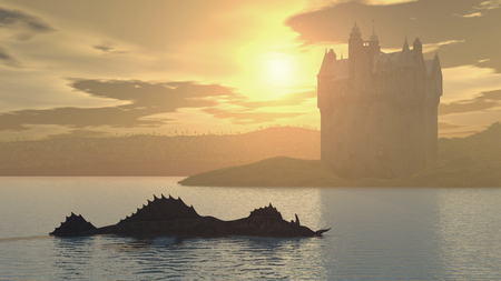 Loch Ness Monster and Scottish Castle