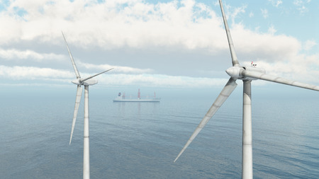 blue energy: Offshore wind farm and cargo ship