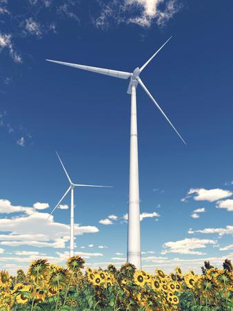 energies: Wind turbines and sunflowers Stock Photo