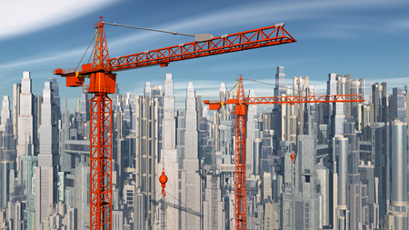 building site: Construction cranes in front of a city landscape