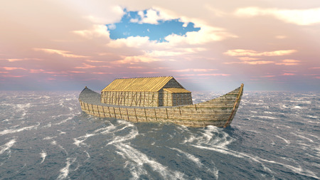 sunbeam: Noahs Ark in the stormy ocean Stock Photo