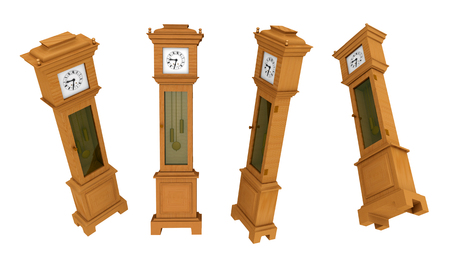 grandfather clock: Longcase clock in various positions isolated on white background
