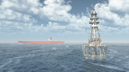 waterway: Lighthouse and cargo ship