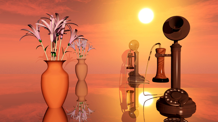 candlestick: Flower vase and candlestick telephone
