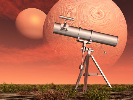 cosmology: Telescope in front of two planets Stock Photo