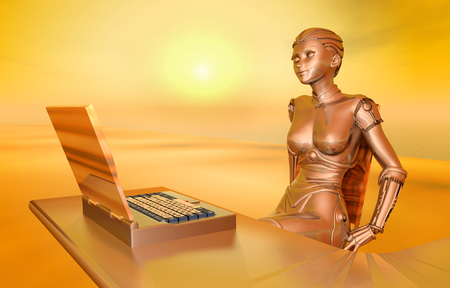 office automation: Laptop and female robot Stock Photo