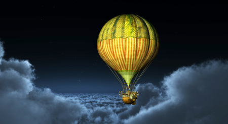 above clouds: Fantasy hot air balloon above the clouds Stock Photo