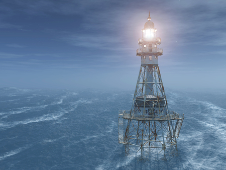 sea mark: Lighthouse in the ocean at night Stock Photo
