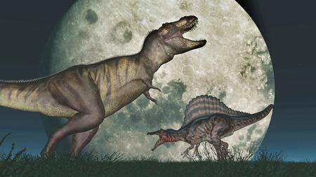 tyrannosaurus rex: Tyrannosaurus Rex and Spinosaurus in front of the moon